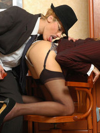 Lunch hour is the best time for lez fuck with secretary and female visitor pictures
