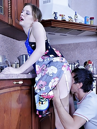 Kinky chick gets spread on a kitchen table for sizzling ass-fucking action pictures