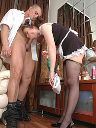 Lascivious maid going for backdoor work ending up with messy anal cumshot pictures