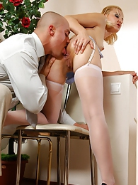Blonde hottie caught adjusting her stockings getting talked into anal play pictures at freekilomovies.com
