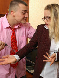 Voluptuous secretary making a horny guy ready to drill her eager banghole pictures at lingerie-mania.com