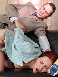 Lascivious secretary almost getting off from ass-fingering before wild anal pictures at freekilosex.com