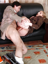 Salacious chick seducing her co-worker into ass-fucking during lunch break pictures at sgirls.net