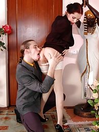 Freaky business woman practicing hot positions in wild ass-screwing action pictures at freekilomovies.com