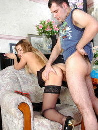 Naughty chick and her boyfriend getting kicks from steamy ass-cramming bout pictures at adipics.com