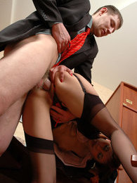 Lusty secretary playing with dildo before getting her butt filled with cock pictures at adspics.com