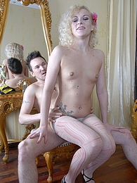 Blonde doll lowers her cool patterned hose and thrusts her butt on a boner pictures at kilogirls.com