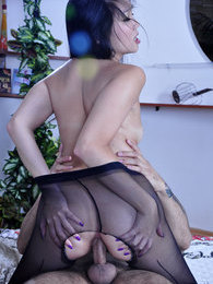 Exotic hottie in black back seam pantyhose getting a huge gaping asshole pictures at freekilomovies.com