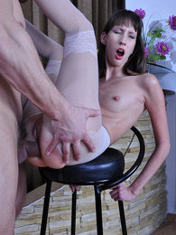 Tall and leggy maid gets her white pantyhose jizzed after rough ass fucking pictures at freekiloporn.com
