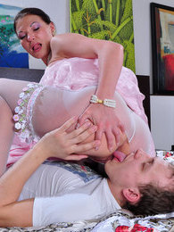 Nasty bride in white pantyhose having a dirty anal quickie with a best man pictures at lingerie-mania.com