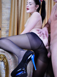 Anal-loving girl gets her pantyhosed shitter tongued and slammed for a load pictures at sgirls.net