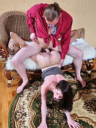 Heated babe in exclusive fashion hose mounts a table for wild butt cramming pictures at find-best-lesbians.com