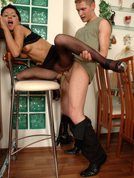 Hottie getting her full-fashioned pantyhose torn in frantic ass-drilling pictures