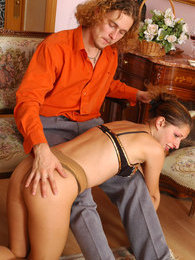Hot guy spanking naughty babe in classy tights before frenzied ass-screwing pictures at adspics.com