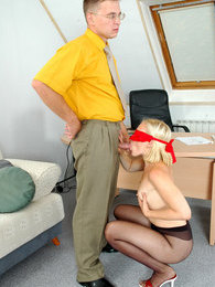 Blindfold chick getting gaping ass through torn sheer-to-waist pantyhose pics