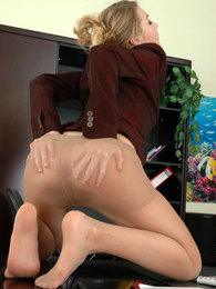 Freaky lady-boss in lacy tights getting anal initiated right in the office pictures at adipics.com