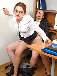 Redhead secretary in soft silky pantyhose getting ass-banging lunch break pictures at kilogirls.com
