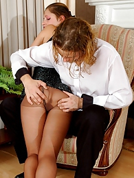 Voluptuous chick in control top pantyhose getting rocky pole in her shitter pictures at freekilosex.com