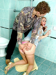 Cute chick in smooth pantyhose getting under fierce anal onslaught in WC pictures at dailyadult.info