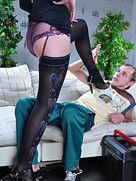 Bossy chick in luscious patterned stockings lures a nerdy boy into a fuck pictures at freekilosex.com
