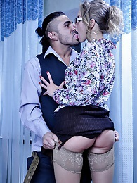 Upskirt blonde sec flashes her lace top stockings in the office fornication pictures