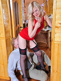 Smashing blonde in luxury stockings teases her boss aching for wild fucking pictures