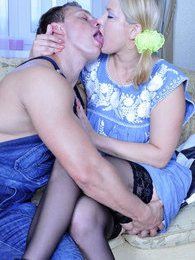 Blonde cutie in black lacy stockings comforts her guy jumping on his dick pictures at kilovideos.com