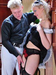 Teasing French maid in black stockings flashes upskirt ready to go hardcore pictures