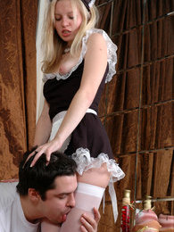 Lusty maid in white stockings knows the best options for sizzling fucking pictures