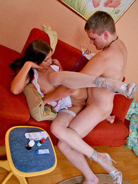 Raunchy nurse in full-fashioned white stockings taking pecker up her twat pictures at freekiloclips.com