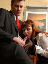 Stockinged secretary knowing how to seduce her lewd boss into nylon fucking pictures