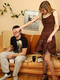 Kinky chick in barely black stockings getting sheer thrill fucking on sofa pictures at freekilomovies.com