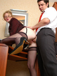 Lewd secretary in black stockings fulfilling every fucking task of her boss pictures