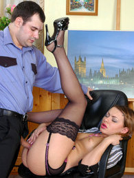 Steamy chick in luxury stockings can't conceal her pleasure from fucking pictures at kilogirls.com
