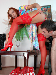 Redhead chick in red lacy stockings getting done in all positions possible pictures at kilogirls.com