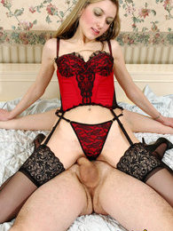Lewd gal in sexy nylons is a leading party while fucking with blindfold guy pictures