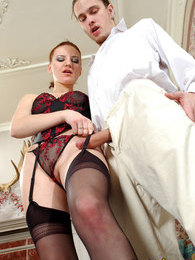 Redhead chick in black stockings giving cock a good workout in various ways pictures at kilosex.com