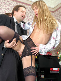 Curly gal in slight sheen stockings rubbing her clitty while jamming shaft pictures at kilopics.net