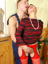 Randy babe in luxury red stockings taking pleasure in fucking with a worker pictures at kilogirls.com
