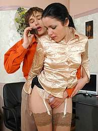 Well-hung guy can speak on phone and fuck with cutie in lace top stockings pictures at freekiloporn.com