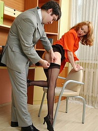 Awesome secretary in full-fashioned stockings bending over for hot dicking pictures