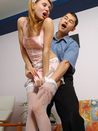 Raunchy French maid in sexy white stockings seducing hot guy into fucking pictures at freekilomovies.com
