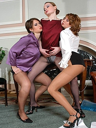 Randy chicks in shiny pantyhose playing dirty lesbian games in threesome pictures at kilosex.com