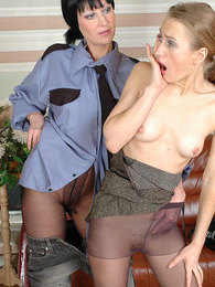 Two chicks in matte pantyhose turning cute babe into their humble sex toy pictures at freekilomovies.com