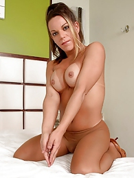 Hot shemale sliding her hand under pantyhose waistband to stroke her boner pictures