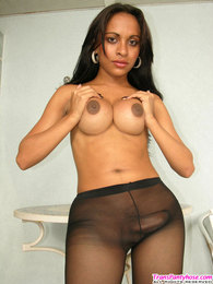 Steaming hot shemale splashing jizz on her black sheer-to-waist pantyhose pictures at find-best-lingerie.com