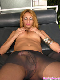 Curvaceous shemale taking her throbbing cock out of control top pantyhose pictures