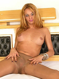 Leggy shemale in soft silky hose showing her killer body and stiff surprise pictures at sgirls.net