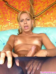 Slim shemale flashing her well-maintained feet through black open toe hose pictures
