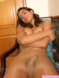 Innocent looking shemale revealing her stiff surprise with her pantyhose on pictures